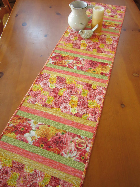 Floral Table Runner Quilted Handmade Tablerunner