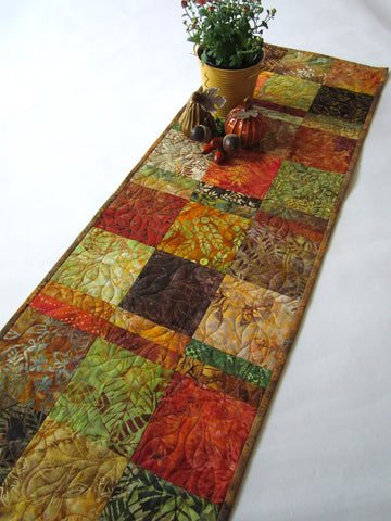 Autumn Colors Batik Table Runner with Leaves
