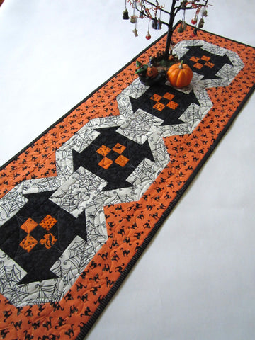 Halloween Table Runner with Cats and Spider Webs