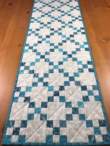 Table Runner Blue Turquoise Quilted Home Decor Gift
