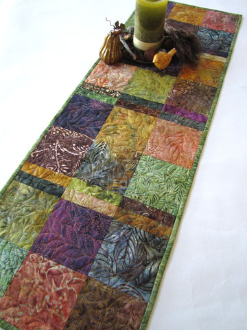 Quilted Batik Table Runner for Fall