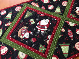 Christmas Ornaments and Santa Claus Table Runner