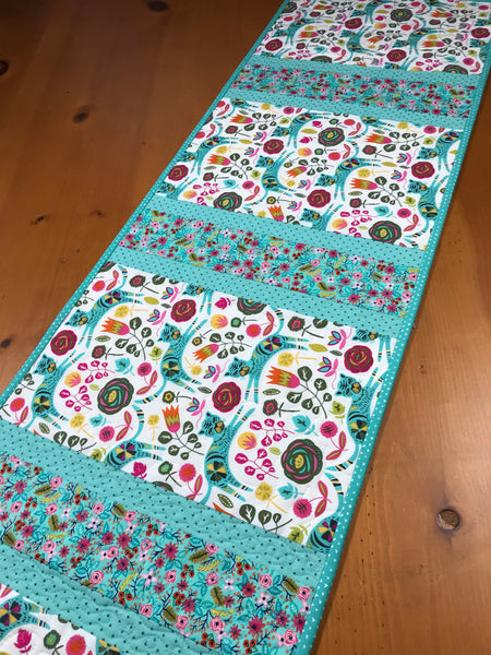 Table Runner with Aqua Cats Quilted Home Decor