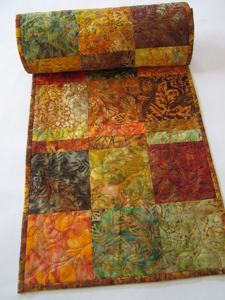 Autumn Colors Quilted Batik Table Runner