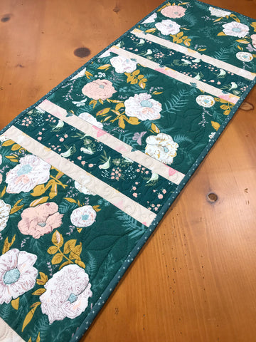 Table Runner Teal with Flowers, Birds, and Butterflies