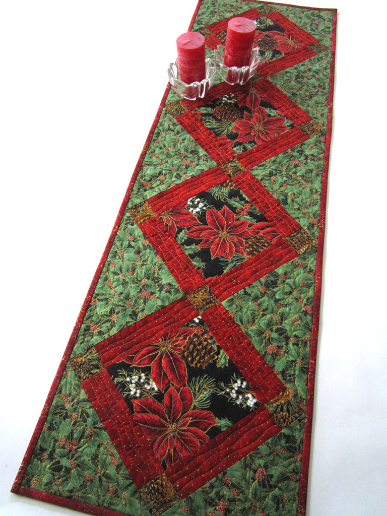 Christmas Table Runner with Poinsettias – Patchwork Mountain