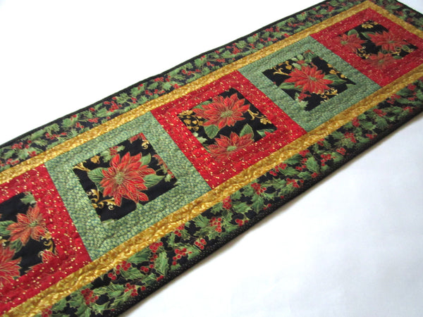 Christmas Table Runner with Poinsettias and Holly