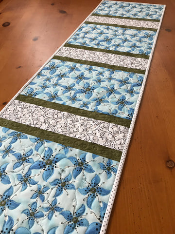 Blue Floral Quilted Table Runner Spring Decor