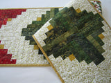 Christmas Table Runner using Log Cabin Block
