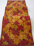 Handmade Quilted Table Runner with Autumn Leaves