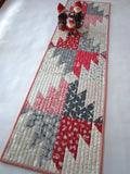 Christmas Table Runner in Red and Gray