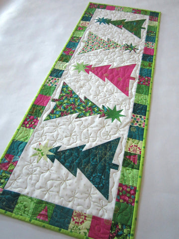 Table Runner with Appliqued Christmas Trees