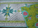 Contemporary Table Runner in Turquoise, Green and Gray