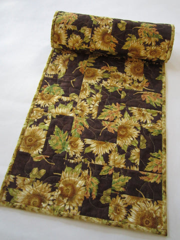 Fall Table Runner with Sunflowers