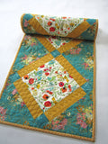 Floral Table Runner in Teal and Gold