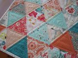 Modern Table Runner with Coral and Aqua Triangles