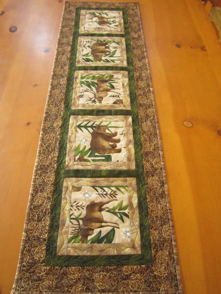 Handmade Quilted Table Runner Bear And Elk Patchwork