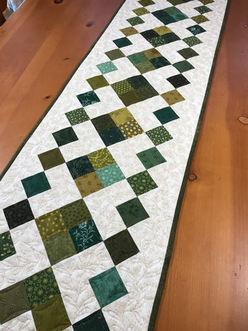 Table Runner Green Handmade Quilted Home Decor