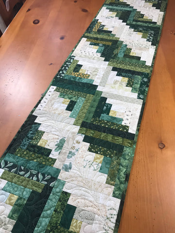 Table Runner Green Tones Long Cabin Block