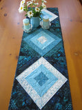 Batik Quilted Table Runner in Aqua, Turquoise and Teal