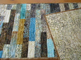 Batik Quilted Table Runner in Brown and Turquoise