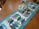 Quilted Batik Table Runner in Blue, Purple and Green