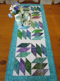 Batik Runner with Purple, Green and Turquoise