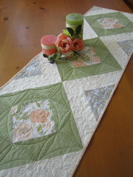 Floral Quilted Table Runner in Green and Peach Colors