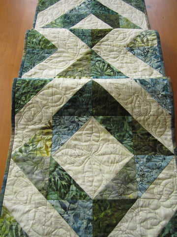 Batik Table Runner with Half Square Triangles
