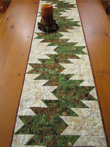 Table Runner with Pine Sprigs and Pine Cones