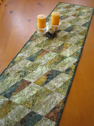Fall Batik Table Runner with a Diagonal Style