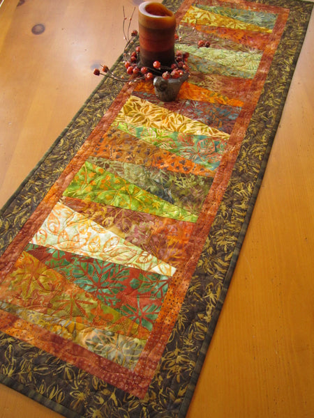 Fall Batik Table Runner in Rustic Colors