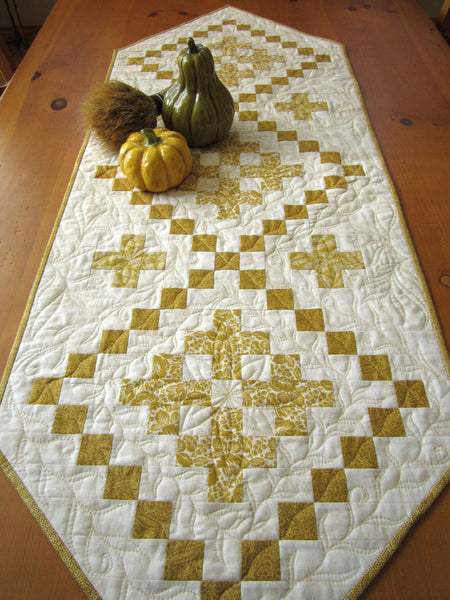 Quilted Table Runner in Gold and Cream