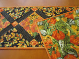 Fall Leaves and Flowers Quilted Table Runner