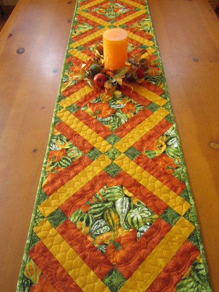 Fall Table Runner with Gourds