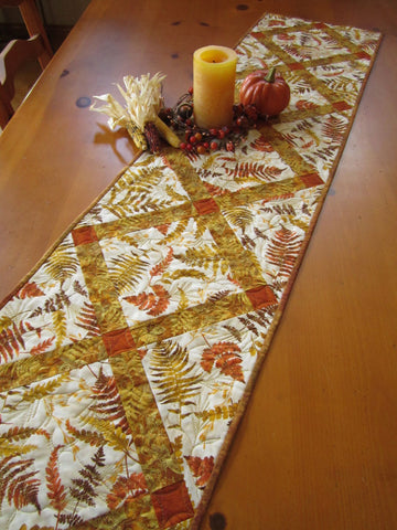 Fall Colors Table Runner with Leaves