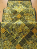 Quilted Table Runner Green and Gold Leaves