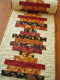 Fall Table Runner Leaves in Stripe Design
