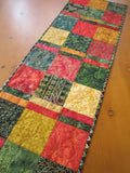 Table Runner Christmas Batik in Green, Gold and Red