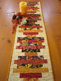 Fall Table Runner Strips of Autumn Color