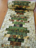 Pine Cone and Sprigs Table Runner in Stacked Strips