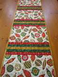 Quilted Table Runner with Christmas Ornaments