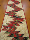 Christmas Table Runner with Holiday Poinsettias