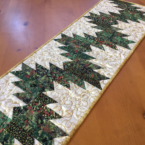 Christmas Table Runner with Holly Leaves