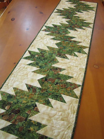 Custom Order Sharon Table Runner with Pine Cones and Holly