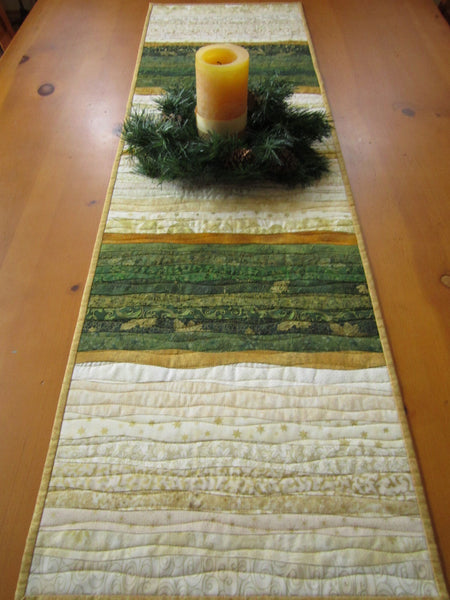 Christmas Table Runner with Strips of Green Gold and Cream