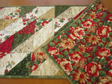 Christmas Table Runner in Green Red and Gold