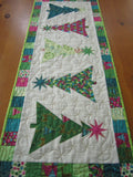 Table Runner Featuring Bright Christmas Trees Modern Design