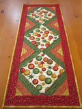 Christmas Ornaments Quilted Table Runner