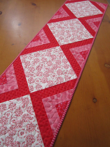 Red Pink Quilted Table Runner
